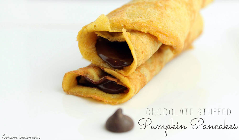 Chocolate Stuffed Pumpkin Pancakes (gluten free) | Butternutrition.com